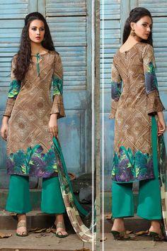 Brown Crepe Punjabi Suit