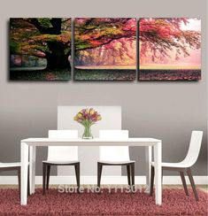 Framed Sale Modern Abstract Home Wall Decoration Oil Painting Tree Printed Canvas 3 Panel Landscape Art Picture For Living Room
