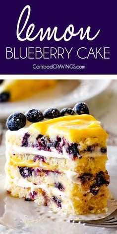 Fluffy, tender Lemon Blueberry Cake bursting with juicy blueberries and smothered in layers of luscious, tangy Lemon Curd and sweet and bright Lemon Cream Cheese Frosting (with step by step photos, tips and tricks)! This is a show stopping dessert for Easter and all your spring and summer parties! #cake #lemon #blueberries #lemoncake #easterrecipes #easterdessert #springdesserts #springrecipes #desserts