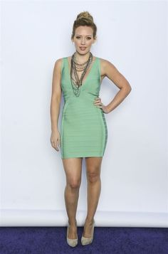 Hilary Duff in Herve Leger - love the mint green with gunmetal jewelry