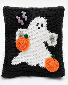 Picture of Halloween Ghosts Afghan & Pillow Set Pattern