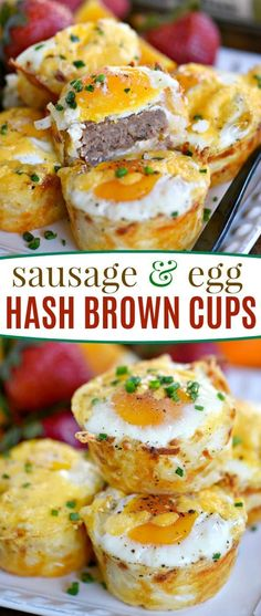 Sausage and Egg Hash Brown Cups are the perfect easy breakfast for busy weekday mornings or a casual weekend brunch. The cheesy hashbrown cup is filled with a sausage patty and topped with an egg for a filling and delicious breakfast any day of the week! Serve with fresh fruit for a tasty breakfast to remember! // Mom On Timeout #breakfast #recipe #sausage #egg #hashbrowns #cheese #hash #brown #brunch #Christmas #Easter #easy #recipe #recipes
