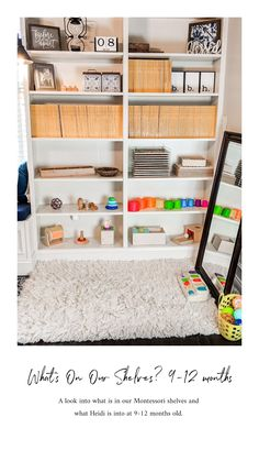 What is on our Montessori shelves at months. Favorite toys and activities for baby. Baby Activities, Montessori Activities, Montessori 12 Months, 9 Month Old Baby, 9 Month Olds, Home Organization, Baby Boy, Shelves, Play