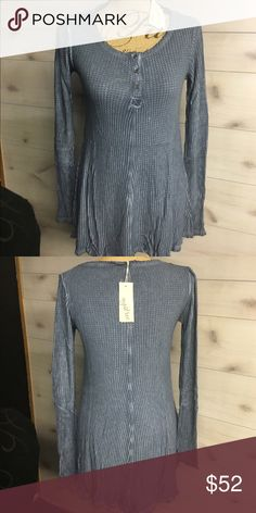 MYSTREE High Low Hem Thermal Henley Beautiful blue hi low him thermal Henley. Fabric is so soft, perfect for those transition spring days. I have size small medium and large. NWT (New with tags) thank you for looking Angel Mystree Tops