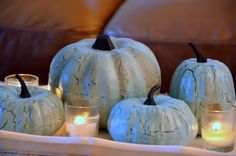 blue pumpkins  I am going to make these blue pumpkins this week.  What a super idea!  #Homes.com