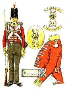 28th (Royal Welch Fusiliers) Regiment of Foot ifantryman wearing a pre 1812 stove pipe shako, although the Belgic shako wasn't fully adopted until 1815.