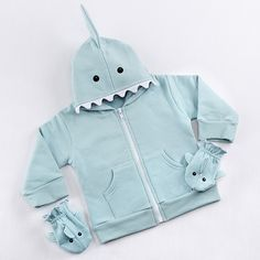 Made from soft and warm sweatshirt material, our Let the Fin Begin Blue Shark Happy Hoodie and Mittens set transforms your little one into the cuddliest shark in the sea! | Blue Shark Happy Hoodie and Mittens