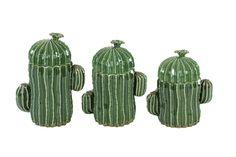 Deco 79 56765 Large Ceramic Green Cactus Pottery Decorative Jars with Lids Gift Set, Unique Gift Ideas, Southwest Decor, Set of Cactus Ceramic, Ceramic Jars, Ceramic Decor, Glazed Ceramic, Cactus Gifts, Cactus Decor, Cactus Plants, Cactus Leaves, Green Cactus