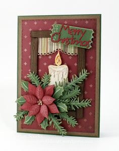 My card today has some new, newer and older Marianne Design dies on it! Once I get started. I end up with my 3 magnetic folders out and go to town! Guess what die the curtain is? Did you gue. Homemade Christmas Cards, Printable Christmas Cards, Christmas Cards To Make, Christmas Paper Crafts, Christmas Greeting Cards, Christmas Greetings, Homemade Cards, Handmade Christmas, Holiday Cards