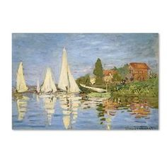 Global Gallery 'Regatta at Argenteuil' by Claude Monet Painting Print on Wrapped Canvas Claude Monet, Canvas Artwork, Canvas Prints, Ocean Artwork, Painting Prints, Art Prints, Poster Art, Art Posters, Print Poster