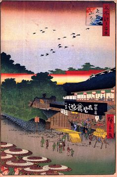 Hiroshige - One Hundred Famous Views of Edo Spring 12 Ueno Yamashita (上野山した?) Iseya restaurant, temples Published in the month after Hiroshige's death; composition probably based on his sketches but probably completed by Hiroshige II 1858 / 10 Ueno, Taitō Japanese Artwork, Japanese Painting, Japanese Prints, Japanese Design, Samurai, Japanese Woodcut, Parasols, Maurice, Japan Art