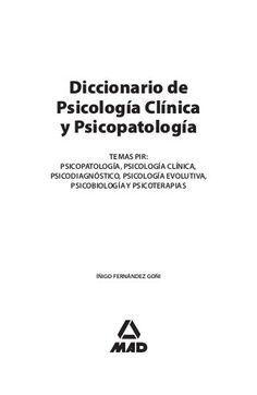 Diccionario De Psicologia Clinica Y Psicopatologia 1 Psicologia Clinica Psicologia Psicologia Sistemica