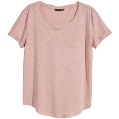H&M Jersey top (6.59 CAD) ❤ liked on Polyvore featuring tops, t-shirts, shirts, h&m, powder pink, round hem t shirt, pink short sleeve shirt, t shirt, pink jersey shirt and short-sleeve shirt