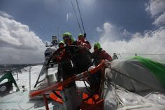 At the approach of Lorient / The Groupama' crew on the deck / Credits : Yann Riou