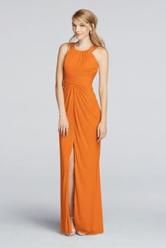 Tangerine. The straps on this beautiful long bridesmaid dress are beaded with delicate beads, and the ruched waistline flatters every figure.   Fully lined. Zipper Back. Imported polyester. Dry clean only.  Available in Extra Length sizes as Style 4XLF17093.  To protect your dress, try our Non Woven Garment Bag.