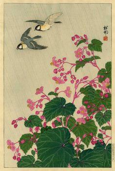 Ohara Koson 'Great Tits and Begonias' 1932