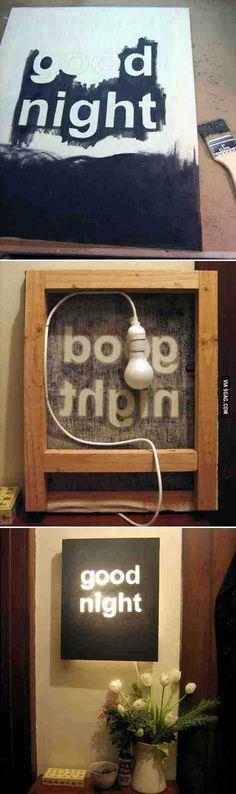 D.I.Y wall light. Cool idea!