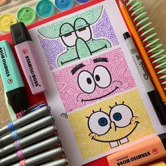 SpongeBob, Patrick, or Squidward? Comment your favorite character 😍 Lovely Stabilo doodle by ✨ Swipe for more… Doodle Art Drawing, Cool Art Drawings, Pencil Art Drawings, Art Drawings Sketches, Drawing Ideas, Doodle Doodle, Simple Drawings, Mandala Art, Mandala Drawing