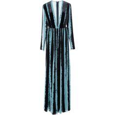 Elie Saab     Deep V-Neck Velvet Dress (18.315 RON) ❤ liked on Polyvore featuring dresses, elie saab, maxi dress, stripe, v-neck dresses, velvet dress, stripe dress, deep v neck maxi dress and striped dresses