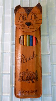 Vintage Mid Century MXS  Leather Pencil Holder Cat Dog Souvenir from Catalina Island California Art Supply Craft Sketch Artist