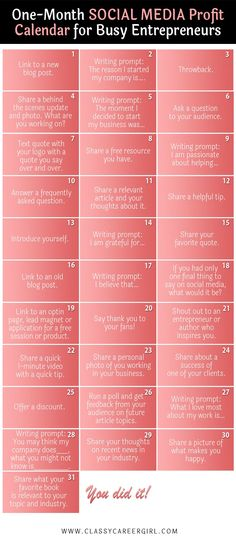 Social Media Calendar For Entrepreneurs  If you get stuck with what to post on social media every day, this will help.  This biggest thing about social media is to be authentic and to share the real you. I created this social media calendar because I realized that some of my posts were getting much more engagement than others. I dived in deeper to my analytics and discovered why. The posts where I shared the real me and really put time into the purpose behind the post, THOSE were the posts…