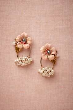 Les Néréides pink Autumn Red Earrings | BHLDN
