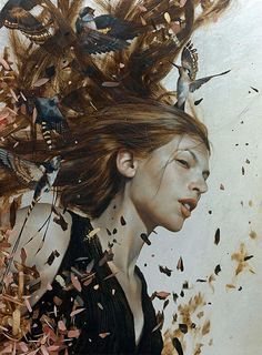 """The Belonging"" (Series) - Brad Kunkle, oil, gold and silver on linen {contemporary figurative artist beautiful female head birds leaves woman face portrait profile cropped painting #loveart}  bradkunkle.com"