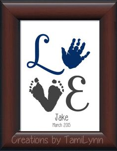 Baby Boy LOVE Footprint & Handprint  par CreationsbyTamiLynn