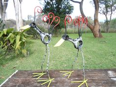 I made these birds from old car parts and some off cut round bar