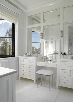 Exceptional Paneled Mirrors, Double Sink Vanity With Drop Down Make Up Area