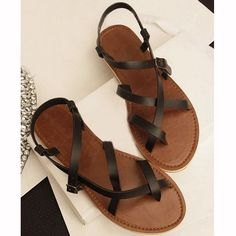 -- Flip Flop. US5-8 New Leather like Womens Gladiator Sandals Flats Thong T Strap Zipper Shoes. US5-10 Candy Patent Leather pointy toe Mules Sandal OL Club fashion womens shoes.