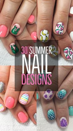 45 Summer and Spring Nails Designs and Art Ideas 30 Nails Designs for Summer. Summer nails are filled with fresh fruits and bright colors. Cheer to a fun summer filled with cute nails cheering mimosas by the pool. Shellac Designs, Diy Nail Designs, Nail Designs Spring, Acrylic Nail Designs, Bright Summer Nails, Cute Summer Nails, Spring Nails, Summer Beach Nails, Diy Acrylic Nails