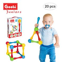 Goobi Juniors 20 Piece Construction Set Large Building Blocks Developmental Play Sticks STEM Learning Vibrant Colors Creativity Imagination 3D Puzzle Educational Toys for 1 Year Old Toddlers Preschool *** Read more at the image link. (This is an affiliate link)