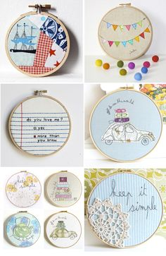 It might be fun to do a bunch of machine embroidery designs and then display them on the wall in hoops.