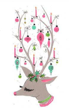Retro Christmas card design...vintage reindeer w/ornaments on antlers! Pinks and blues...Cute!