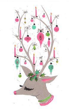 Retro Christmas card design.