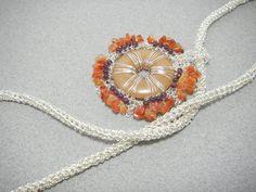 Ocher quartz Carnelian Garnet  Stone pendant necklace Silver wire tube with detachable pendant
