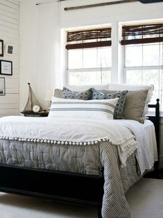 CHIC COASTAL LIVING - This is similar to the bedding we have at the beach, ours is Pottery Barn. Blue ticking in the guest room, red ticking in the master. Perfect for a casual beach condo.