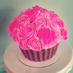 giant pink floral cupcake
