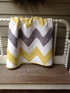 Chevron Yellow and Gray Crib Blanket by MOMnI on Etsy, $75.00