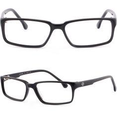 14ba728bb5 Shiny Black Full Rim Rectangular Light Plastic Frame Prescription Glasses  Lenses