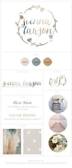 Branding Board // Logo Design // Brand Identity // Business Cards // Facebook Set // Twitter Set // Etsy Shop Set // Sienna