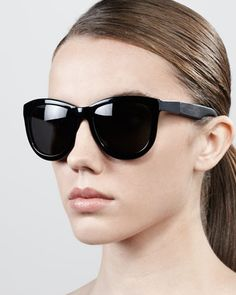 7fb7705ba2 Leather-Arm Classic Sunglasses by The Row at Bergdorf Goodman. Black Round  Sunglasses
