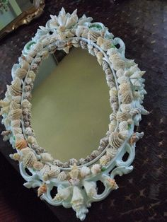 Seashell Encrusted Mermaid Mirror by schwaycool on Etsy
