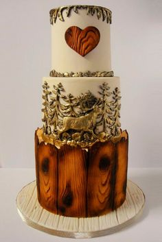 Wedding Cakes Rustic Wedding Cakes For The Perfect Country Reception ❤ See more: http://www.weddingforward.com/rustic-wedding-cakes/ #weddings