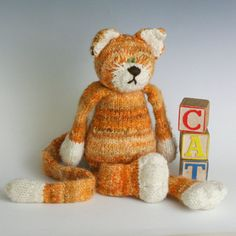 C is for Cat - PDF Knitting Pattern for a Stuffed Toy Kitty