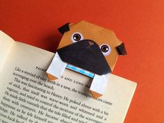 Cool Paper Pug Bookmark , Unique Origami Pug Bookmark , Paper Pug