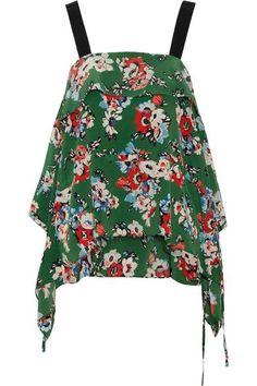 MSGM - Draped Floral-print Silk Crepe De Chine Camisole - Green - IT40