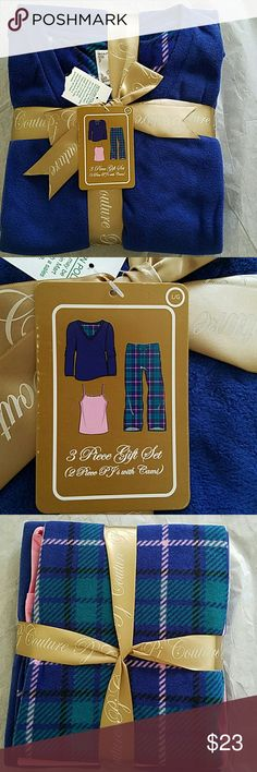 Women's PJ Couture 3Pc Flannel Pajama Gift Set:Lg This is brand-new wrapped in a beautiful gold bow a woman's PJ Couture three-piece flannel plaid pajama gift set. The top is beautiful royal blue in color, the bottoms have a plaid design with royal blue,green black,and pink.This also comes with a tank top that is in the color of pink. This is a women's size: large. Great to wear all year round ,so many different ways this can be worn.This would make a wonderful gift. PJ Couture Intimates…