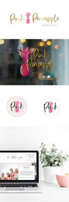 Pink Pineapple Weddings: Brand & Web Design - jessicagingrich.com Modern Logo Design, Branding Design, Web Design, Wedding Branding, Wedding Logos, Pineapple Design, Pineapple Ideas, Brand Style Guide, Photography Branding